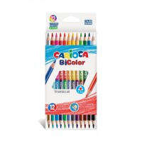 Värvipliiatsid CARIOCA Bi-Color, kolmnurksed, kahe otsaga, 12 tk