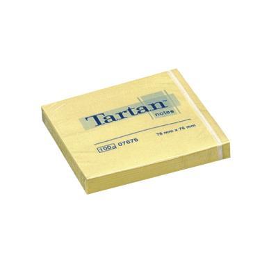 Märkmepaber Tartan 76x76mm, kollane, 100 lehte MB