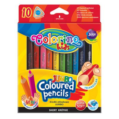 Värvipliiatsid Colorino Jumbo Mini, 10 värvi+teritaja, kolmnurksed