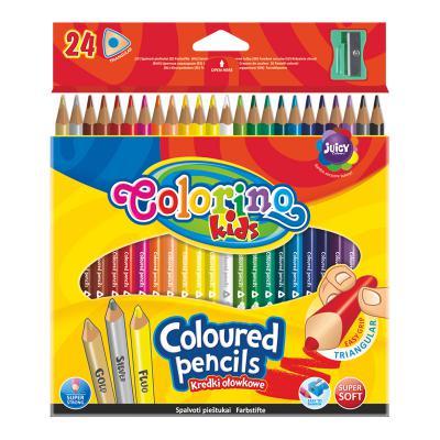 Värvipliiatsid COLORINO, 24 värvi, kolmnurksed